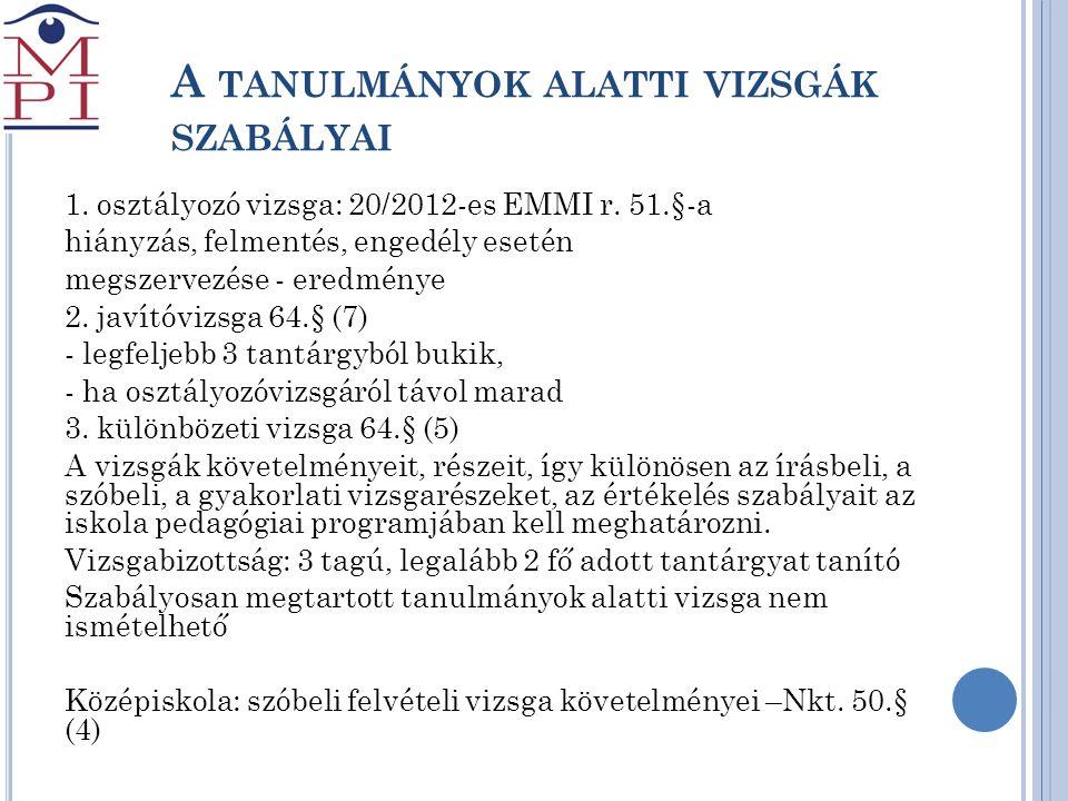 A TANULMÁNYOK ALATTI VIZSGÁK SZABÁLYAI 1. osztályozó vizsga: 20/2012-es EMMI r. 51.§-a hiányzás, felmentés, engedély esetén megszervezése - eredménye