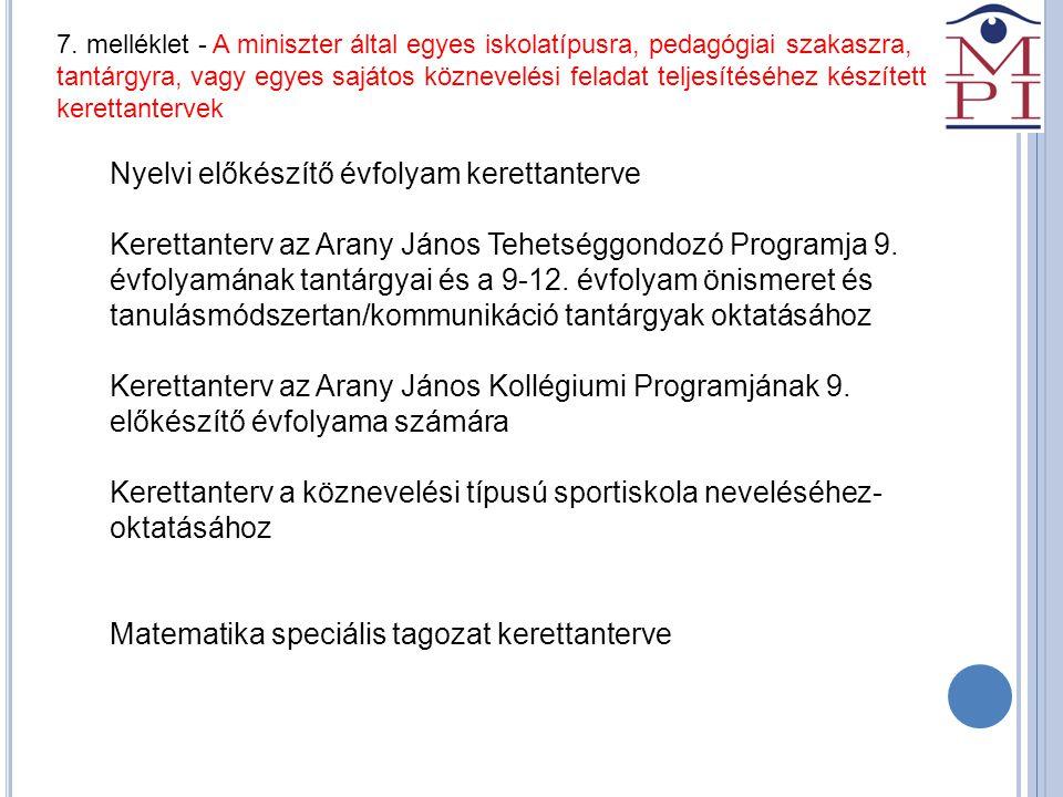 7. melléklet - A miniszter által egyes iskolatípusra, pedagógiai szakaszra, tantárgyra, vagy egyes sajátos köznevelési feladat teljesítéséhez készítet