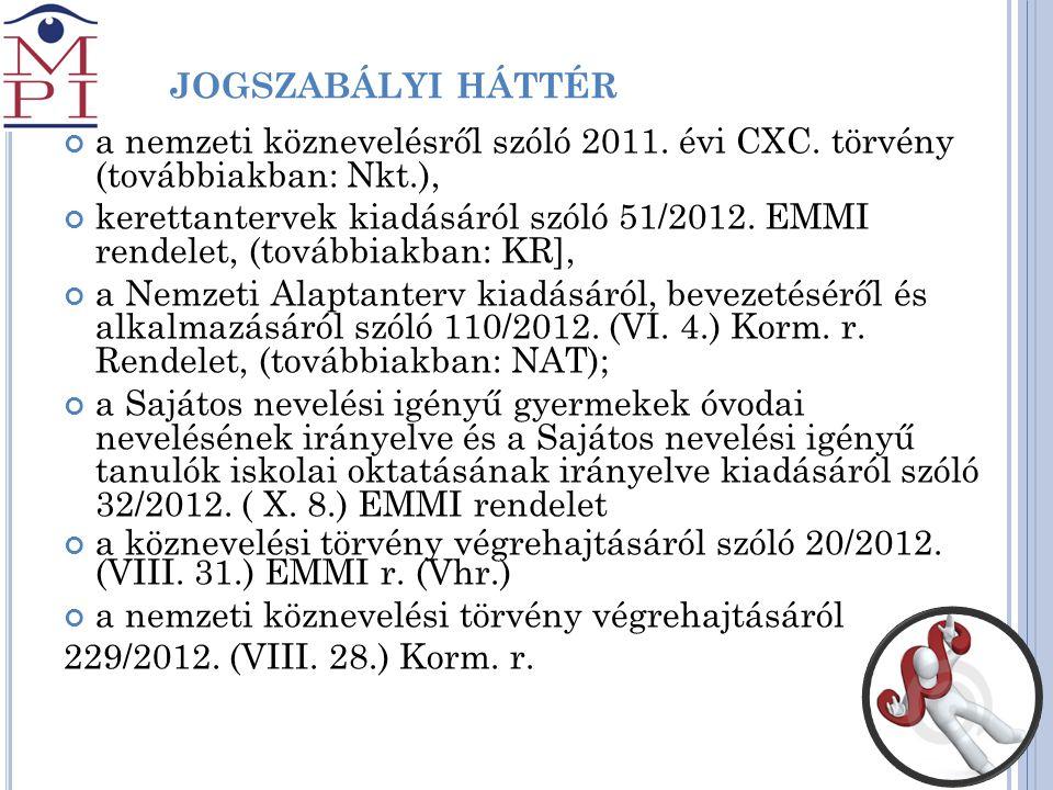 J JOGSZABÁLYI HÁTTÉR a nemzeti köznevelésről szóló 2011. évi CXC. törvény (továbbiakban: Nkt.), kerettantervek kiadásáról szóló 51/2012. EMMI rendelet