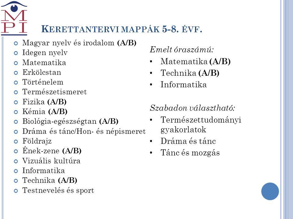 K ERETTANTERVI MAPPÁK 5-8. ÉVF. Magyar nyelv és irodalom (A/B) Idegen nyelv Matematika Erkölcstan Történelem Természetismeret Fizika (A/B) Kémia (A/B)
