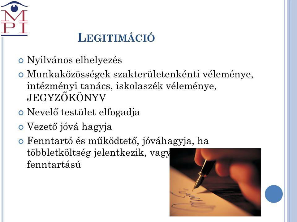 L EGITIMÁCIÓ Nyilvános elhelyezés Munkaközösségek szakterületenkénti véleménye, intézményi tanács, iskolaszék véleménye, JEGYZŐKÖNYV Nevelő testület e