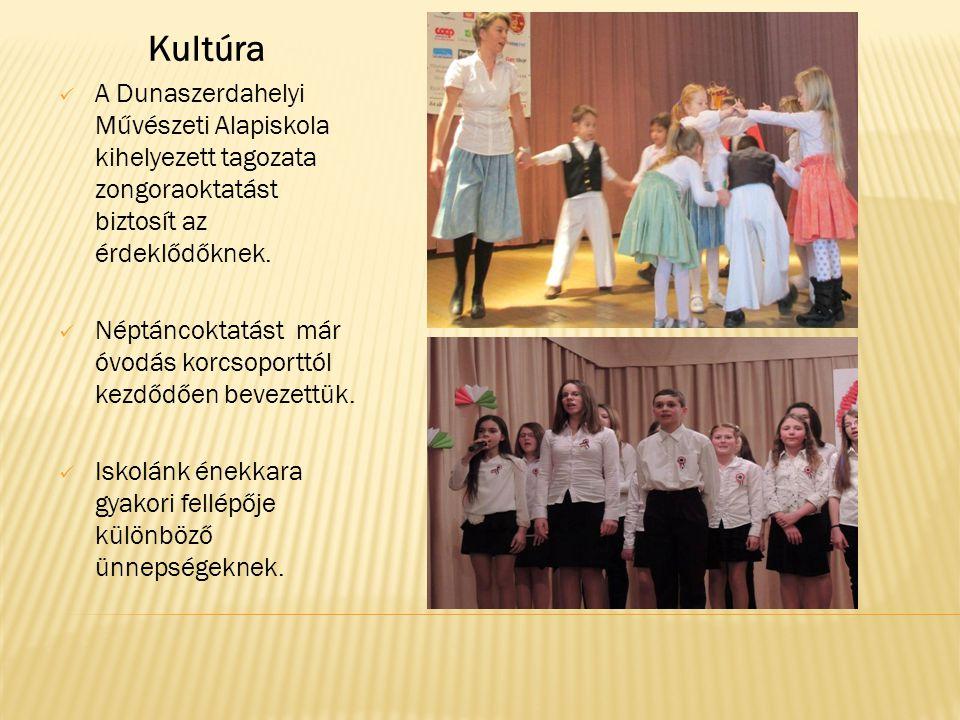 Kultúra  A Dunaszerdahelyi Művészeti Alapiskola kihelyezett tagozata zongoraoktatást biztosít az érdeklődőknek.  Néptáncoktatást már óvodás korcsopo