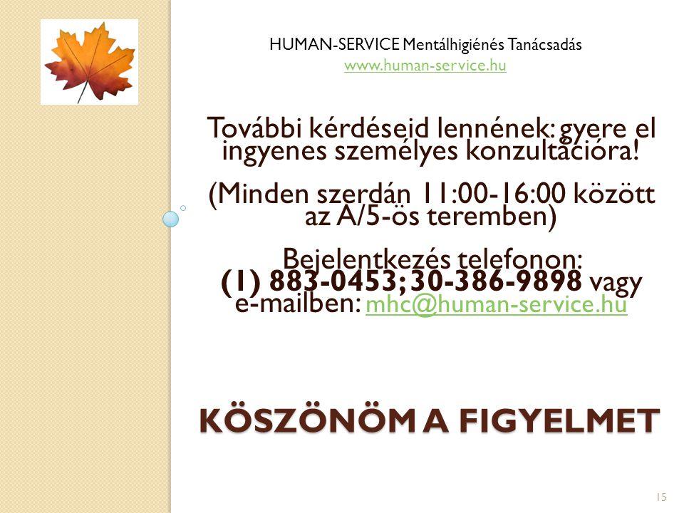 KÖSZÖNÖM A FIGYELMET További kérdéseid lennének: gyere el ingyenes személyes konzultációra! (Minden szerdán 11:00-16:00 között az A/5-ös teremben) Bej
