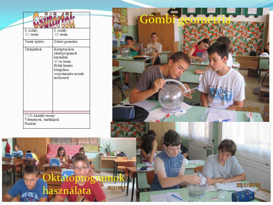 6. osztály /11. terem/ 8. osztály /10. terem/ Testek építéseGömbi geometria TáblajátékokKislaptopokon oktatóprogramok használata /47-es terem/ Hidak l
