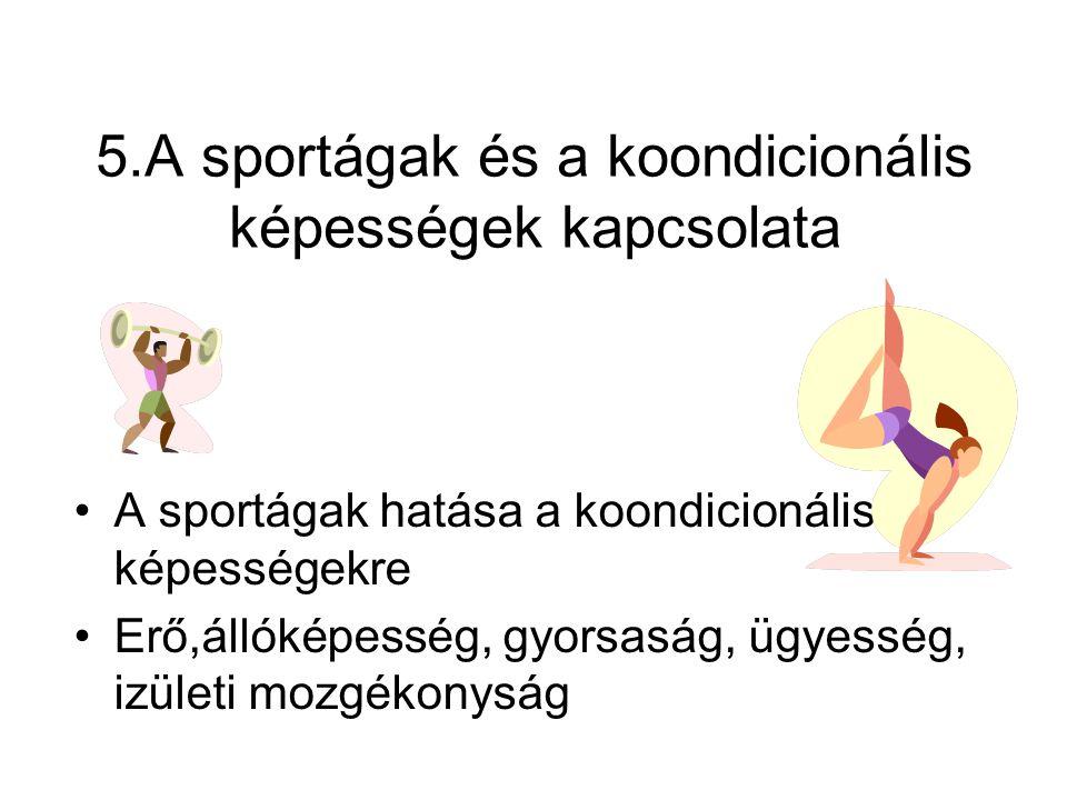 5.A sportágak és a koondicionális képességek kapcsolata •A sportágak hatása a koondicionális képességekre •Erő,állóképesség, gyorsaság, ügyesség, izül