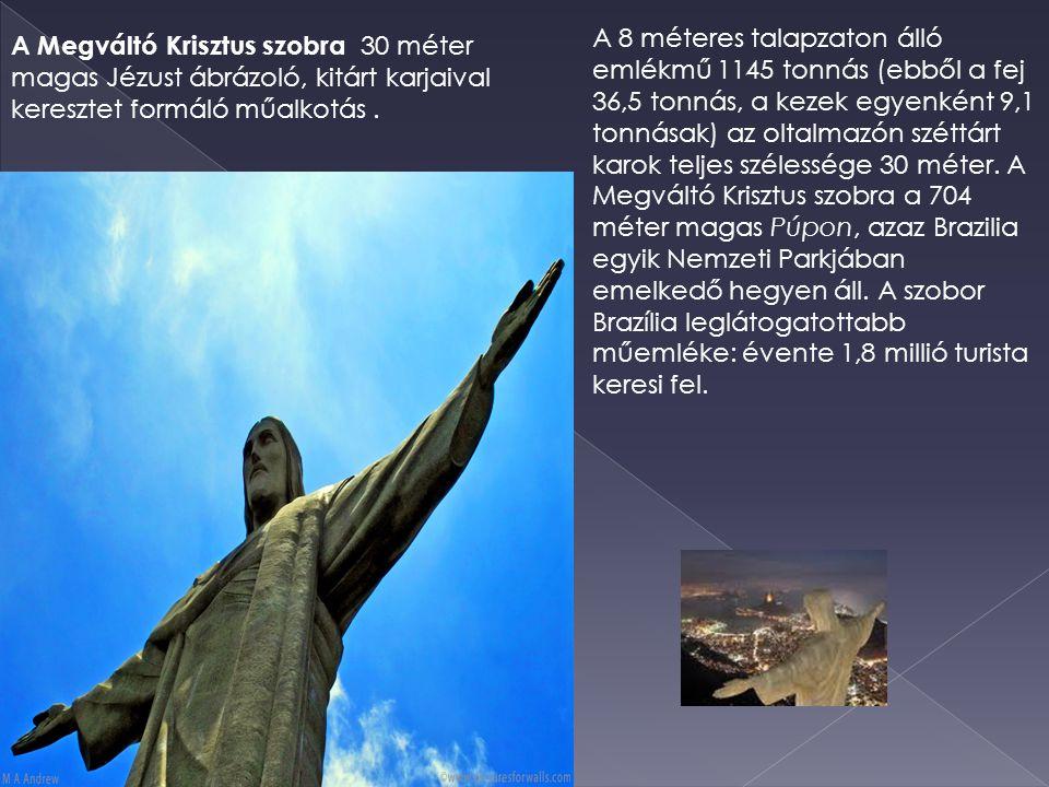 A 8 méteres talapzaton álló emlékmű 1145 tonnás (ebből a fej 36,5 tonnás, a kezek egyenként 9,1 tonnásak) az oltalmazón széttárt karok teljes szélessé