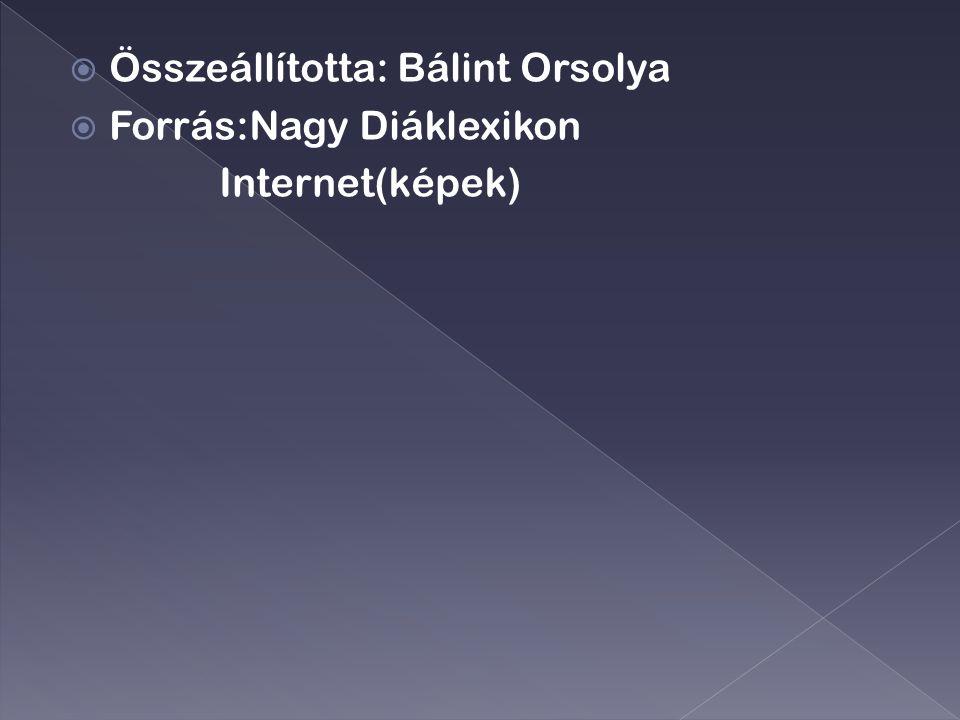  Összeállította: Bálint Orsolya  Forrás:Nagy Diáklexikon Internet(képek)