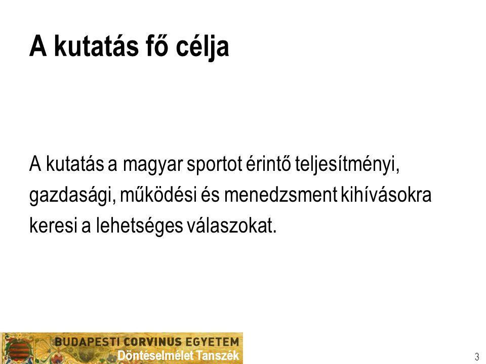 Döntéselmélet Tanszék 3 A kutatás fő célja A kutatás a magyar sportot érintő teljesítményi, gazdasági, működési és menedzsment kihívásokra keresi a le