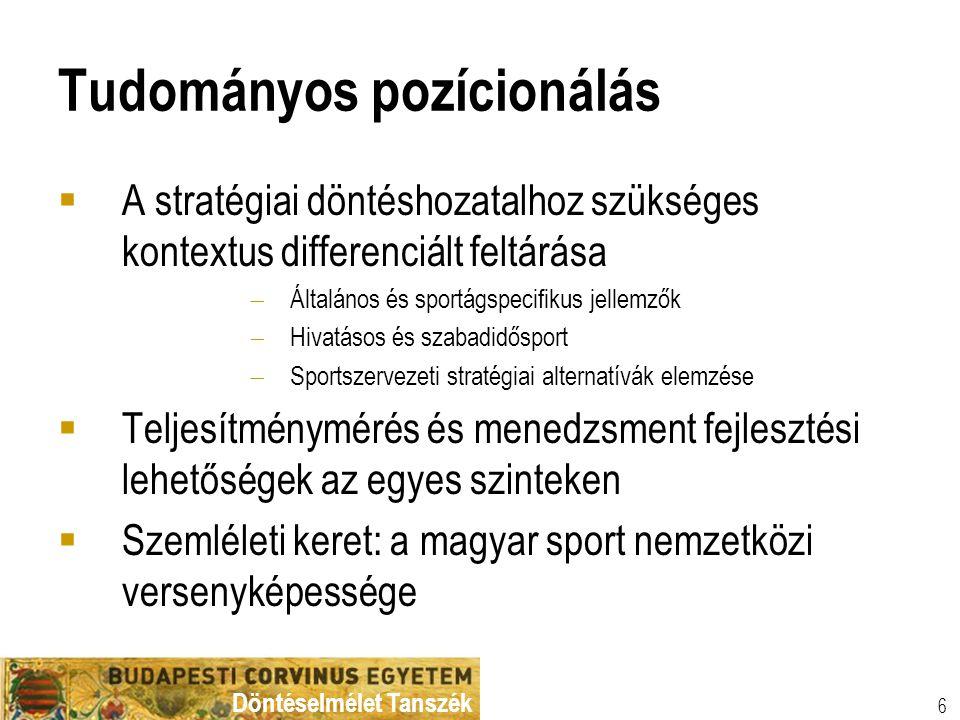 Döntéselmélet Tanszék 7 Kutatási témák kialakítási lehetőségei Normatív (etikai, kulturális) Intézményi és szabályozási Magatartási és motivációs Tényfeltáró és diagnóziskészítő Koncepcionális, modellező lokális regionális nemzeti nemzetközi világ egyéni csoport/csapat szervezet, szervezeti egység/funkciók osztály, vagy csoport sportág típusnemzeti sport Vizsgálati szint Versenyképességi terjedelem Kutatási probléma-megközelítés