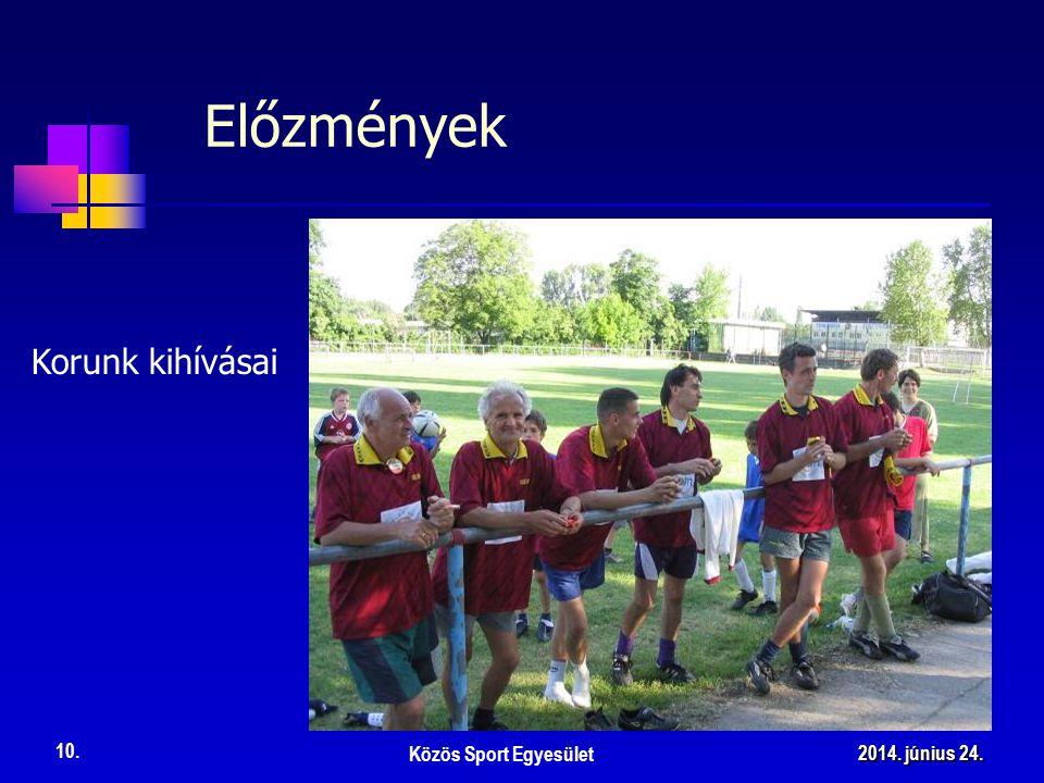 Korunk kihívásai Előzmények Közös Sport Egyesület 10. 2014. június 24.2014. június 24.2014. június 24.