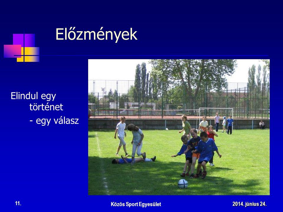 Elindul egy történet - egy válasz Előzmények Közös Sport Egyesület 11. 2014. június 24.2014. június 24.2014. június 24.