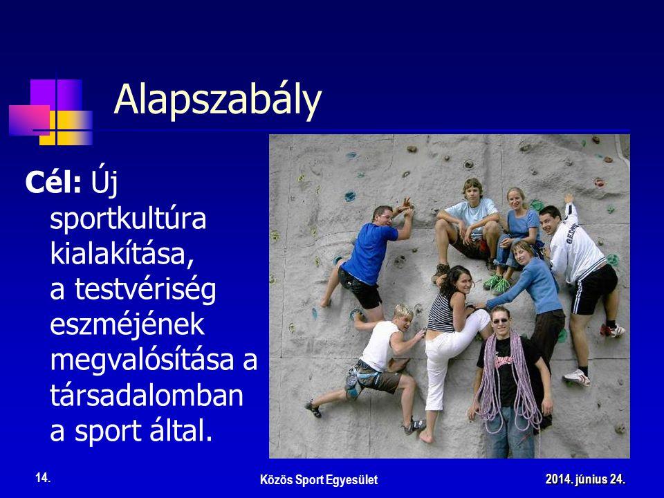Cél: Új sportkultúra kialakítása, a testvériség eszméjének megvalósítása a társadalomban a sport által. Közös Sport Egyesület 14. 2014. június 24.2014