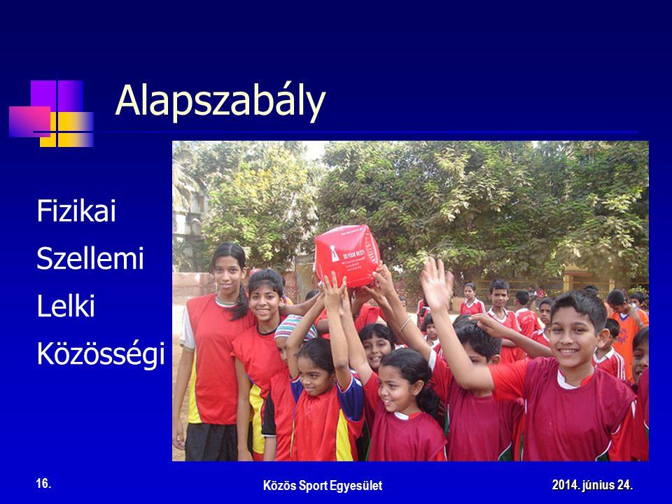Fizikai Alapszabály Közös Sport Egyesület 16. 2014. június 24.2014. június 24.2014. június 24. Szellemi Lelki Közösségi