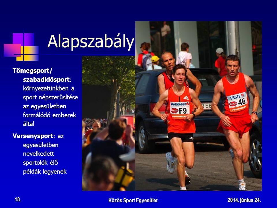 Tömegsport/ szabadidősport: környezetünkben a sport népszerűsítése az egyesületben formálódó emberek által Alapszabály Közös Sport Egyesület 18. 2014.
