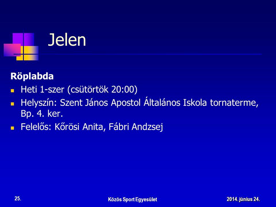 Jelen Röplabda  Heti 1-szer (csütörtök 20:00)  Helyszín: Szent János Apostol Általános Iskola tornaterme, Bp.
