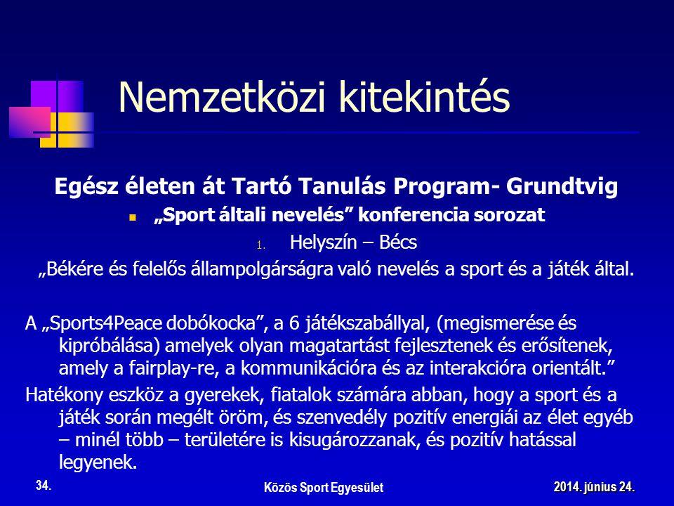 """Egész életen át Tartó Tanulás Program- Grundtvig  """"Sport általi nevelés"""" konferencia sorozat 1. Helyszín – Bécs """"Békére és felelős állampolgárságra v"""