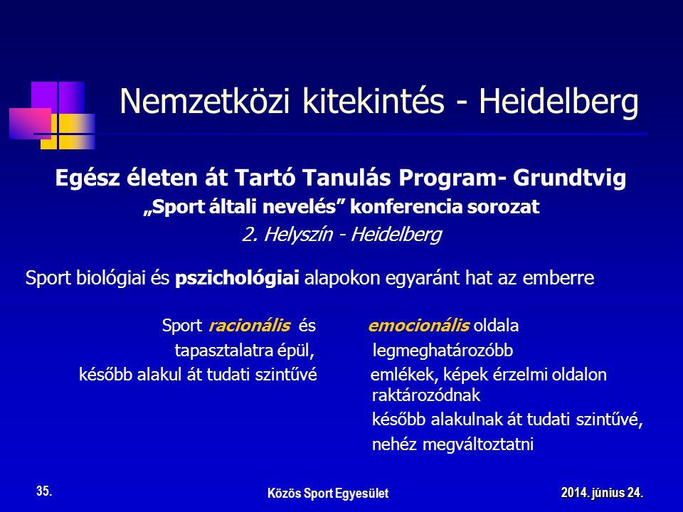 """Nemzetközi kitekintés - Heidelberg Egész életen át Tartó Tanulás Program- Grundtvig """"Sport általi nevelés konferencia sorozat 2."""