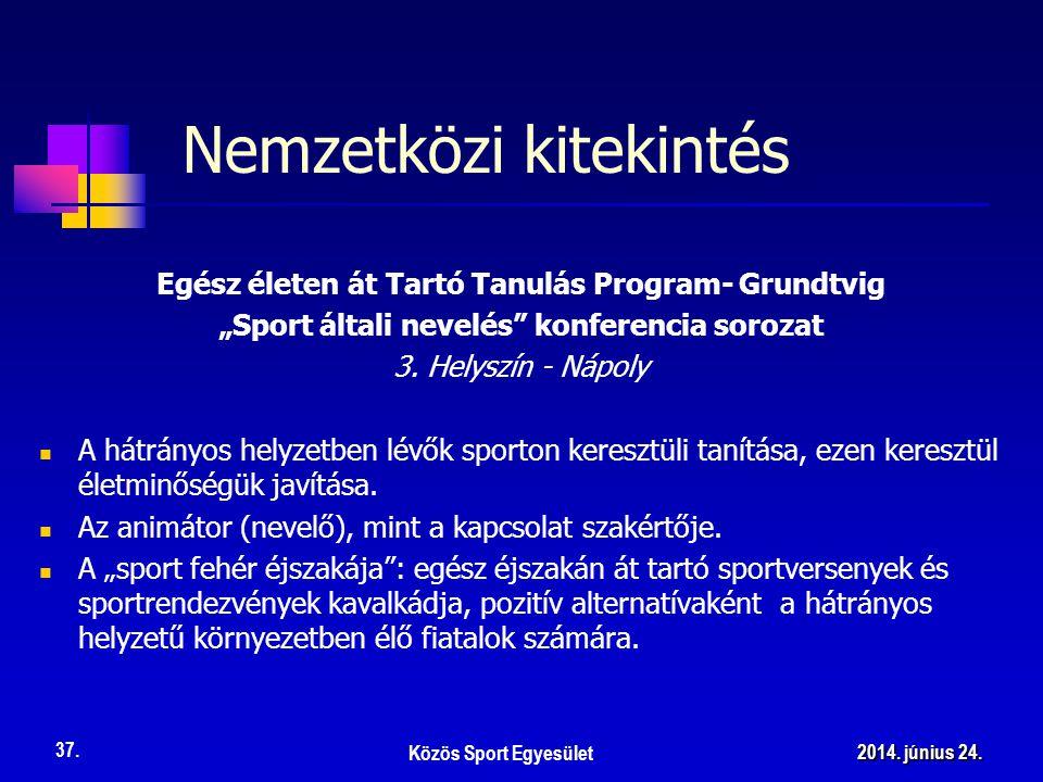 """Nemzetközi kitekintés Egész életen át Tartó Tanulás Program- Grundtvig """"Sport általi nevelés konferencia sorozat 3."""