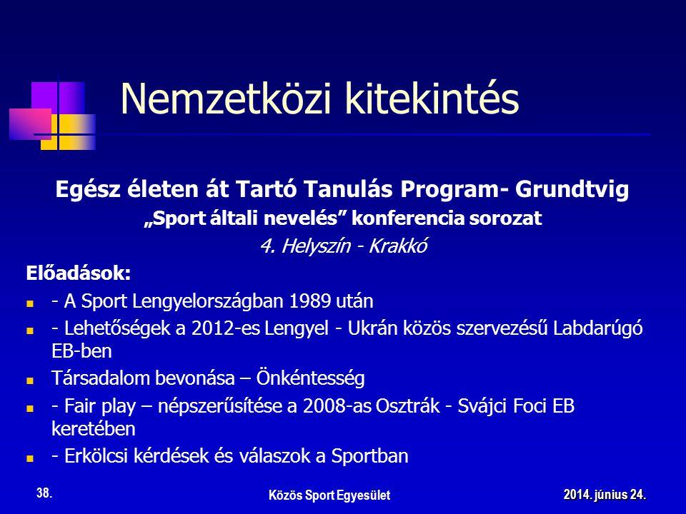 """Nemzetközi kitekintés Egész életen át Tartó Tanulás Program- Grundtvig """"Sport általi nevelés"""" konferencia sorozat 4. Helyszín - Krakkó Előadások:  -"""