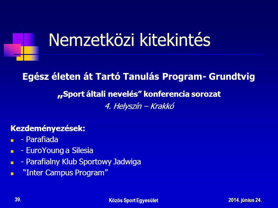 """Nemzetközi kitekintés Egész életen át Tartó Tanulás Program- Grundtvig """" Sport általi nevelés konferencia sorozat 4."""