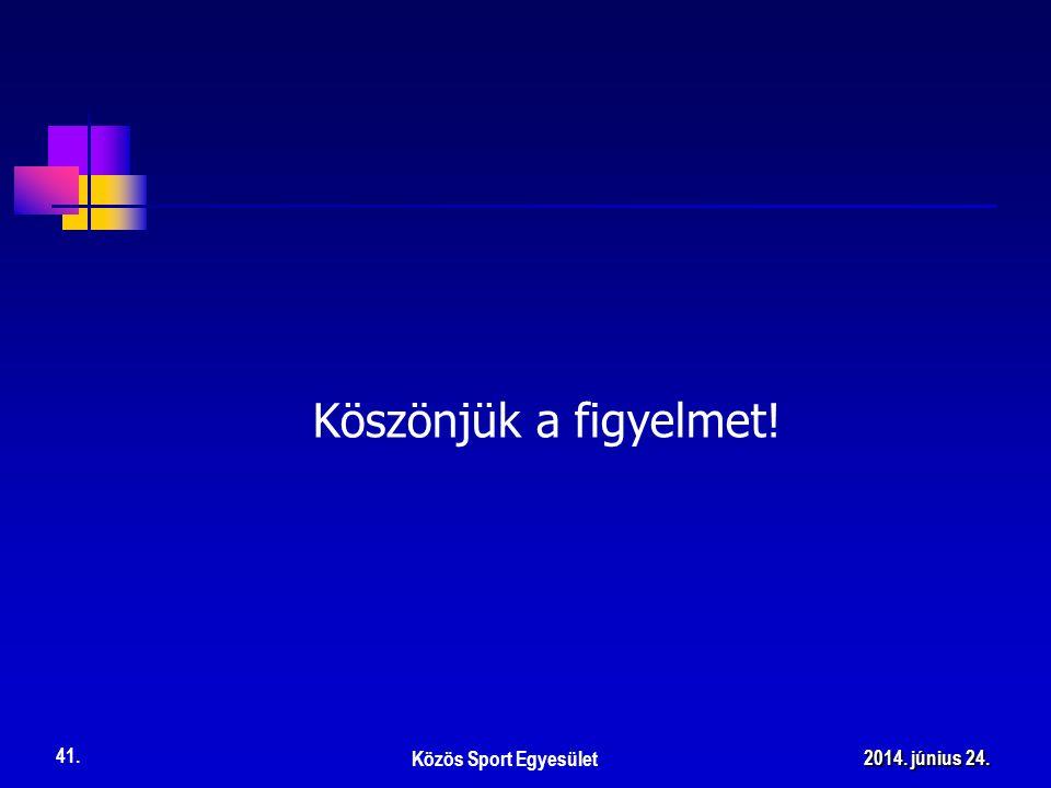 Köszönjük a figyelmet! Közös Sport Egyesület 41. 2014. június 24.2014. június 24.2014. június 24.