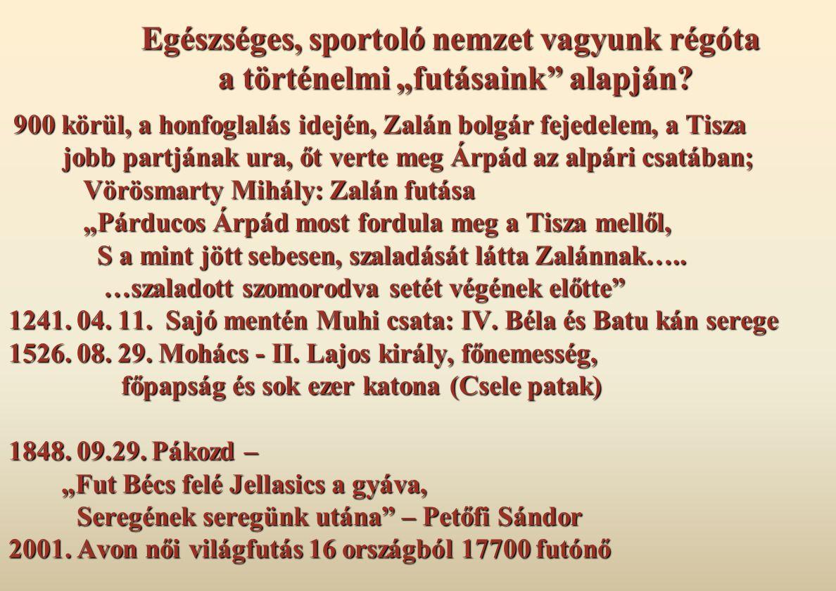 """Egészséges, sportoló nemzet vagyunk régóta a történelmi """"futásaink"""" alapján? 900 körül, a honfoglalás idején, Zalán bolgár fejedelem, a Tisza jobb par"""