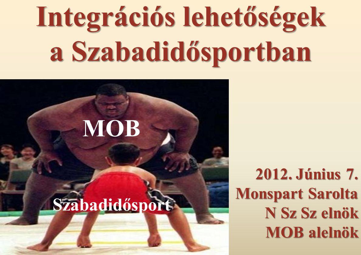 Integrációs lehetőségek a Szabadidősportban 2012. Június 7. Monspart Sarolta N Sz Sz elnök MOB alelnök MOB Szabadidősport