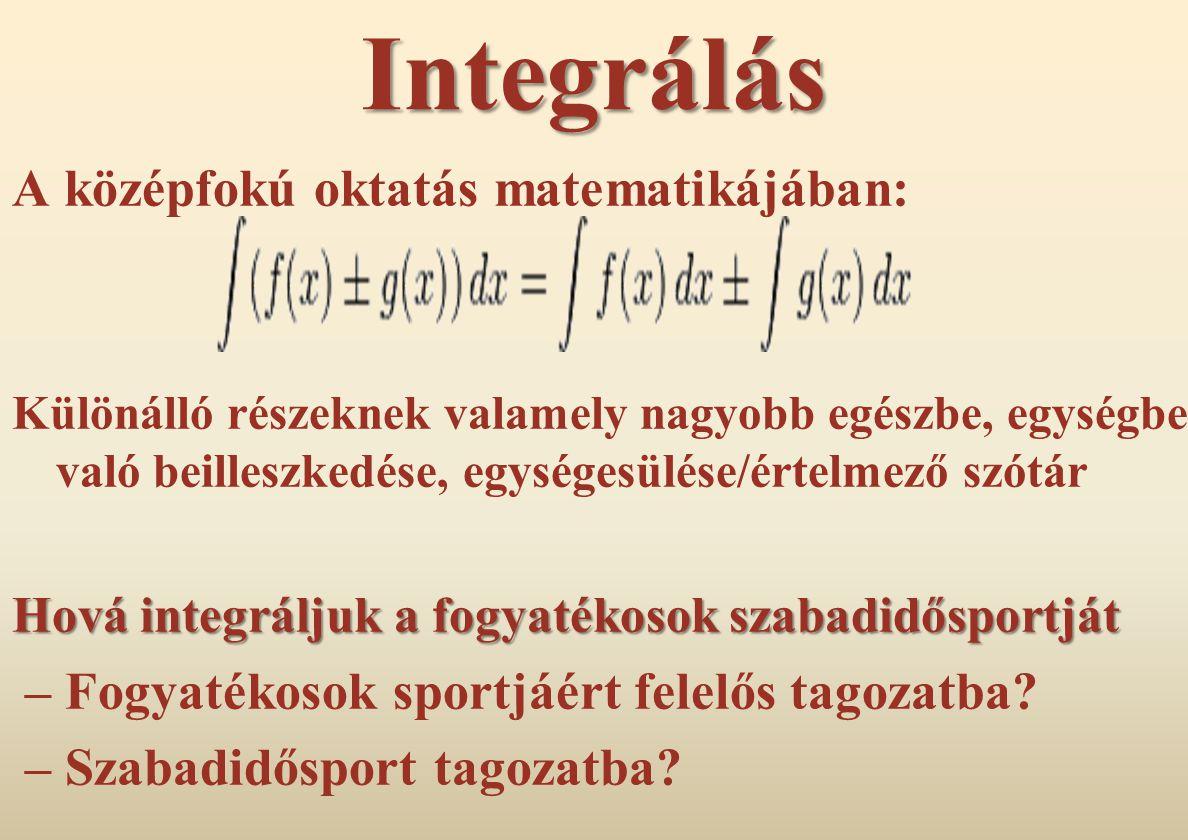 Integrálás A középfokú oktatás matematikájában: Különálló részeknek valamely nagyobb egészbe, egységbe való beilleszkedése, egységesülése/értelmező sz