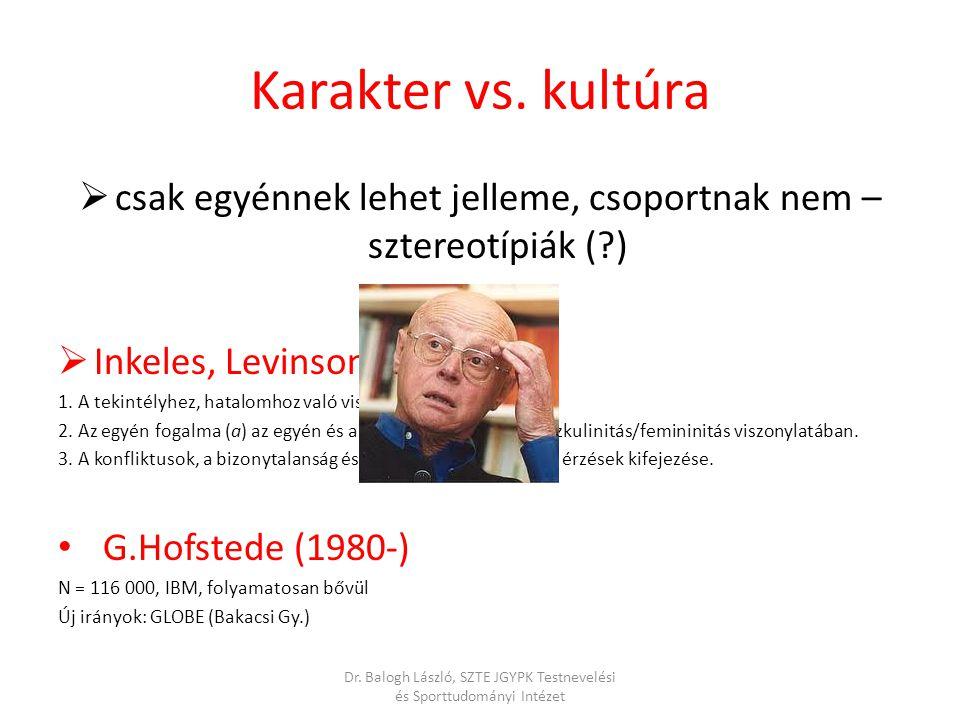  csak egyénnek lehet jelleme, csoportnak nem – sztereotípiák (?)  Inkeles, Levinson (1954): 1. A tekintélyhez, hatalomhoz való viszonyulás. 2. Az eg