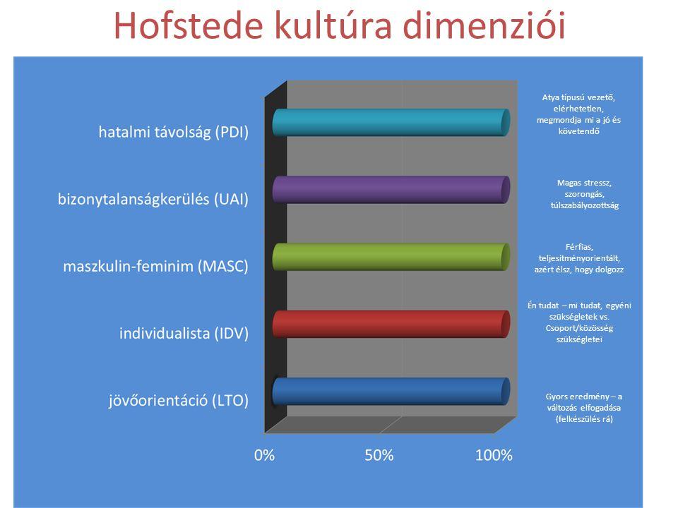 • Hatalmi távolság (PDI) • Individualista – kollektivista (IDV) • Maszkulin – feminim (MASC) • Bizonytalanság kerülés (UAI) • Jövő orientáció LTO) Dr.