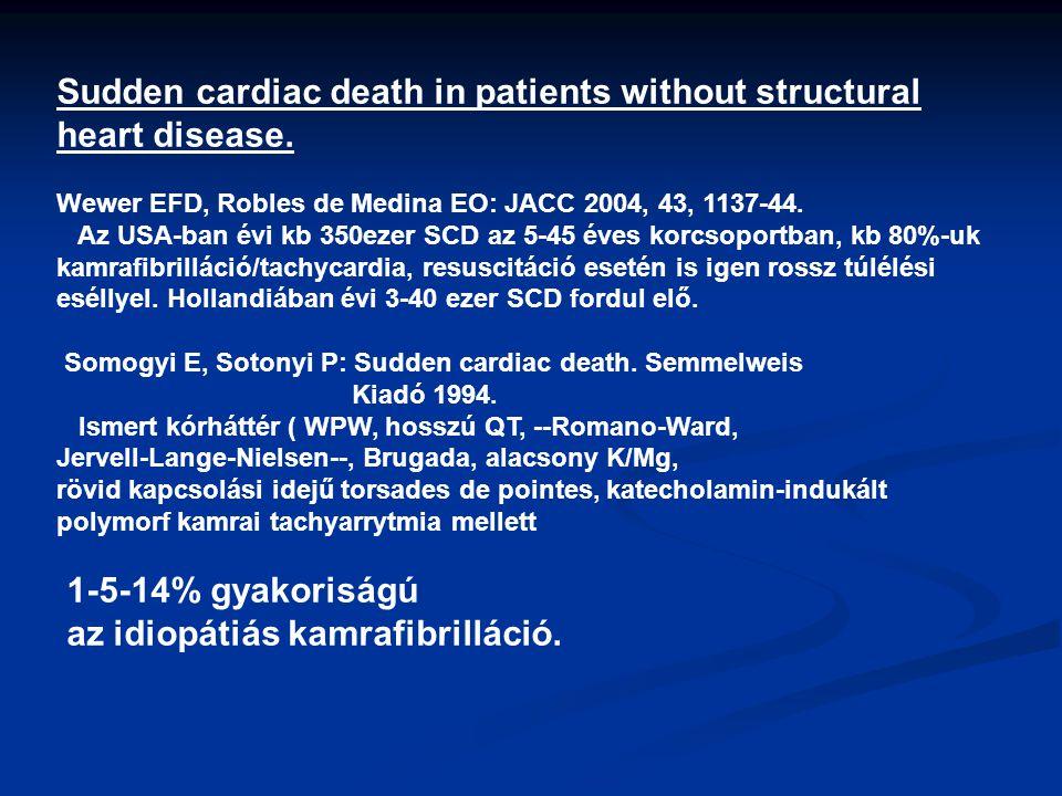 Sudden cardiac death in patients without structural heart disease. Wewer EFD, Robles de Medina EO: JACC 2004, 43, 1137-44. Az USA-ban évi kb 350ezer S