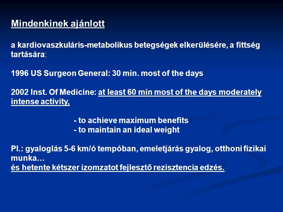 Mindenkinek ajánlott a kardiovaszkuláris-metabolikus betegségek elkerülésére, a fittség tartására: 1996 US Surgeon General: 30 min. most of the days 2