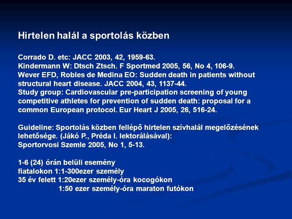 Hirtelen halál a sportolás közben Corrado D. etc: JACC 2003, 42, 1959-63. Kindermann W: Dtsch Ztsch. F Sportmed 2005, 56, No 4, 106-9. Wever EFD, Robl