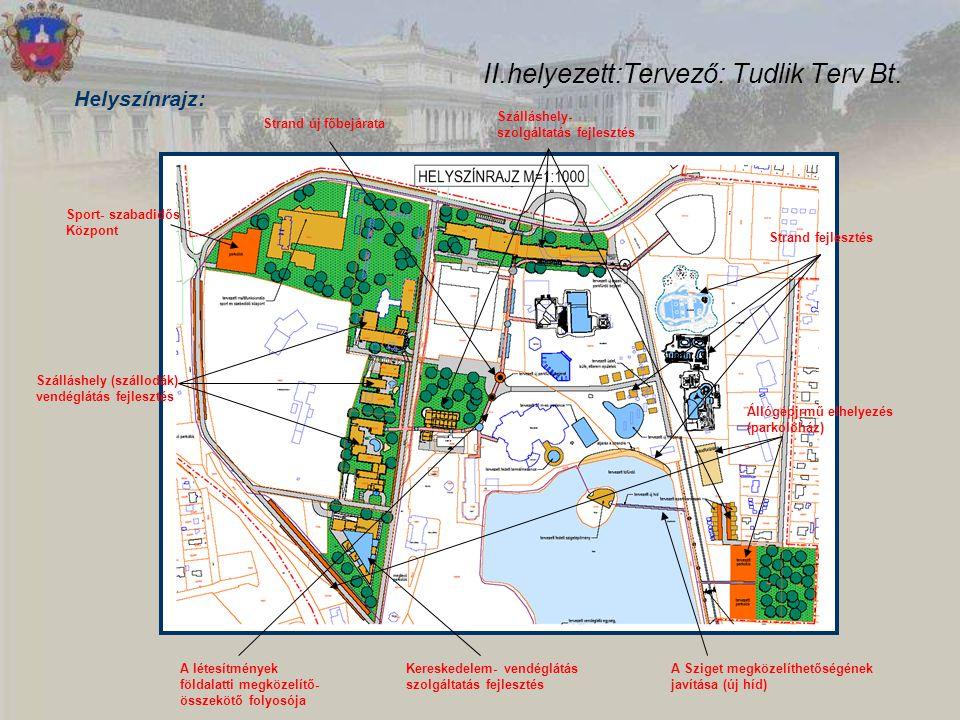 II.helyezett:Tervező: Tudlik Terv Bt. Helyszínrajz: Strand új főbejárata Strand fejlesztés Szálláshely- szolgáltatás fejlesztés Állógépjrmű elhelyezés