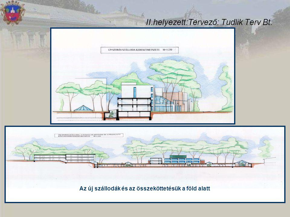 II.helyezett:Tervező: Tudlik Terv Bt. Az új szállodák és az összeköttetésük a föld alatt