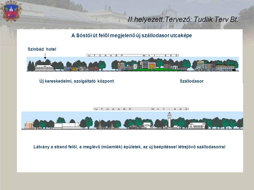 II.helyezett:Tervező: Tudlik Terv Bt. Új kereskedelmi, szolgáltató központ Szinbád hotel Szállodasor A Sóstói út felől megjelenő új szállodasor utcaké