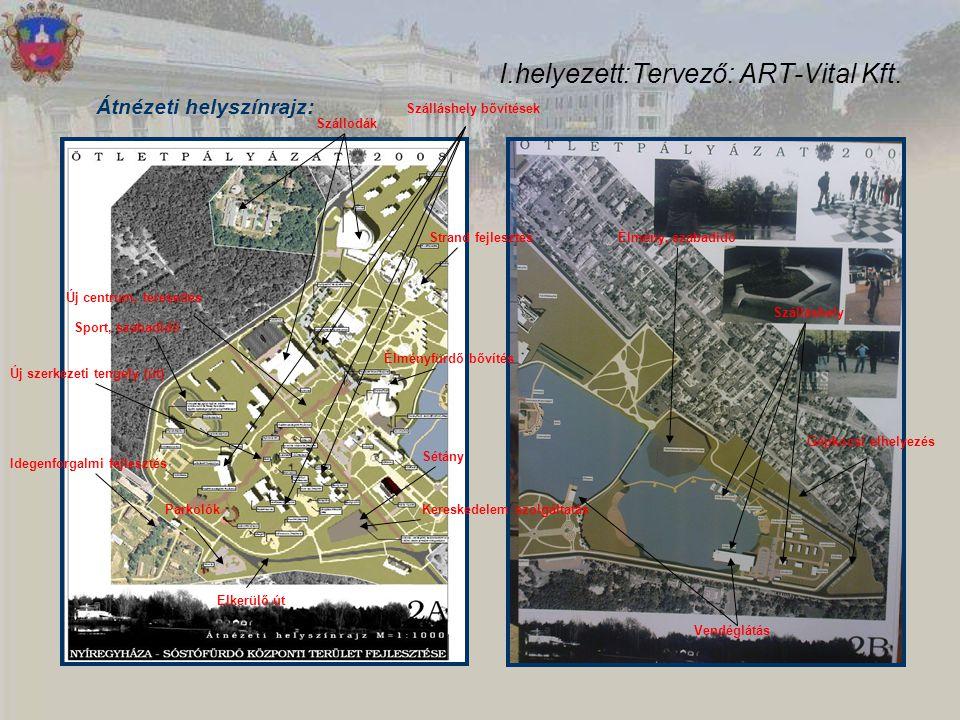 I.helyezett:Tervező: ART-Vital Kft. Átnézeti helyszínrajz: Szállodák Szálláshely bővítések Strand fejlesztés Élményfürdő bővítés Sétány Kereskedelem s