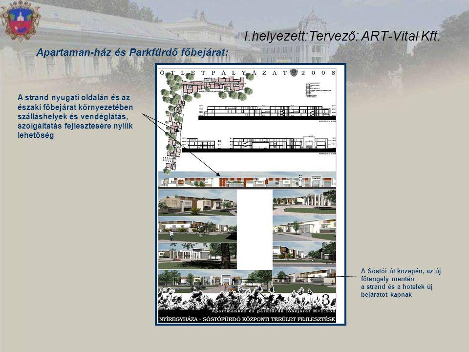 I.helyezett:Tervező: ART-Vital Kft. Apartaman-ház és Parkfürdő főbejárat: A strand nyugati oldalán és az északi főbejárat környezetében szálláshelyek