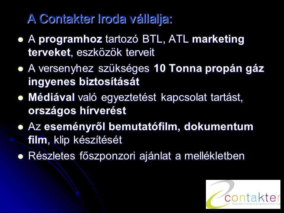 A Contakter Iroda vállalja:  A programhoz tartozó BTL, ATL marketing terveket, eszközök terveit  A versenyhez szükséges 10 Tonna propán gáz ingyenes biztosítását  Médiával való egyeztetést kapcsolat tartást, országos hírverést  Az eseményről bemutatófilm, dokumentum film, klip készítését  Részletes főszponzori ajánlat a mellékletben