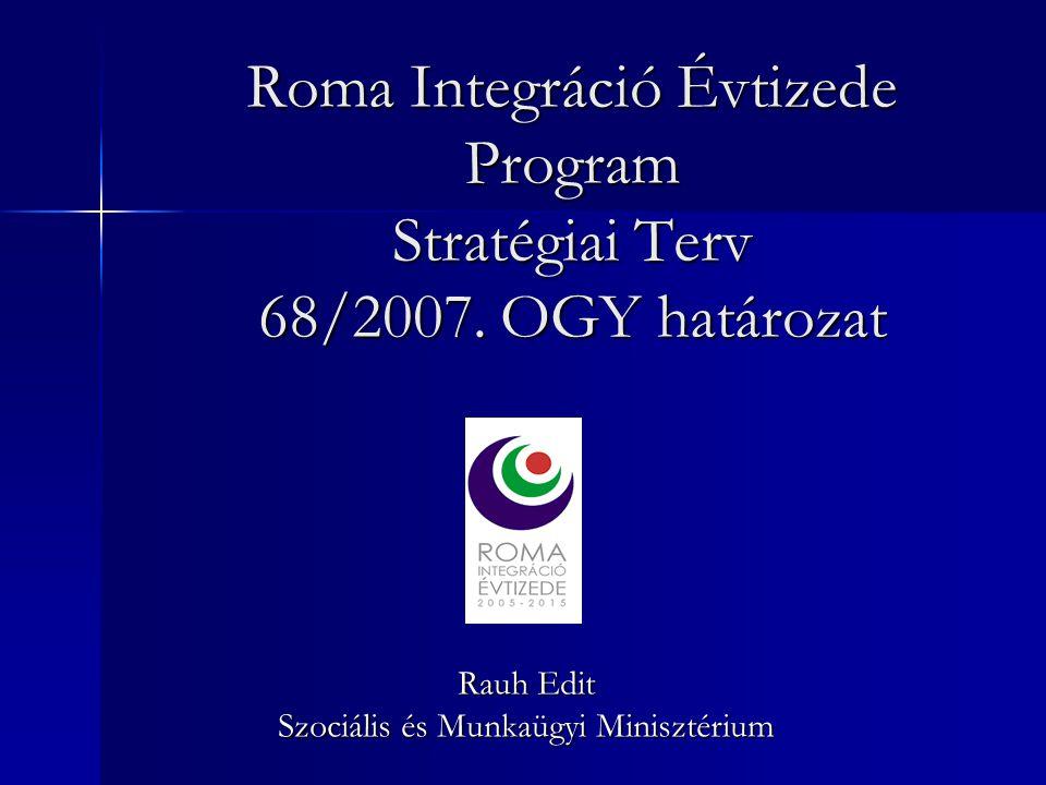 Roma Integráció Évtizede Program Stratégiai Terv 68/2007. OGY határozat Rauh Edit Szociális és Munkaügyi Minisztérium
