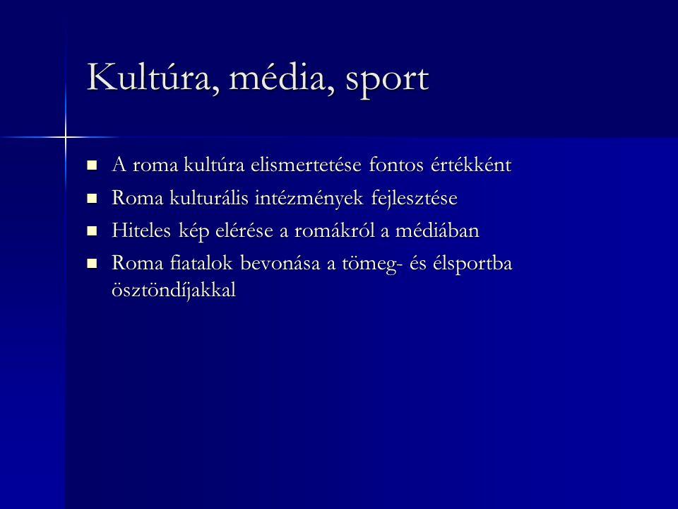 Kultúra, média, sport  A roma kultúra elismertetése fontos értékként  Roma kulturális intézmények fejlesztése  Hiteles kép elérése a romákról a médiában  Roma fiatalok bevonása a tömeg- és élsportba ösztöndíjakkal