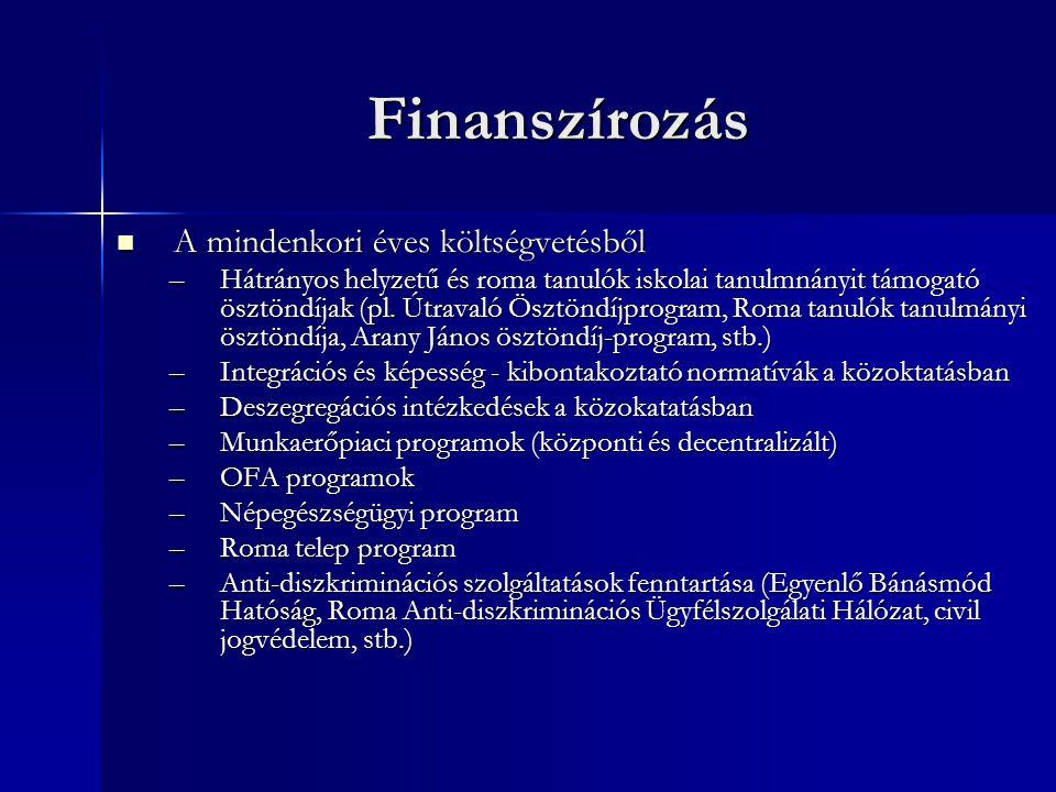 Finanszírozás  A mindenkori éves költségvetésből –Hátrányos helyzetű és roma tanulók iskolai tanulmnányit támogató ösztöndíjak (pl.
