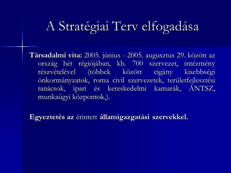 A Stratégiai Terv elfogadása Társadalmi vita: 2005. június - 2005. augusztus 29. között az ország hét régiójában, kb. 700 szervezet, intézmény részvét