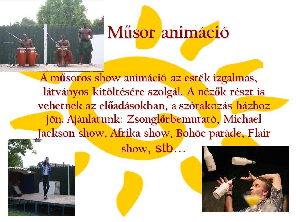 M ű sor animáció A m ű soros show animáció az esték izgalmas, látványos kitöltésére szolgál. A néz ő k részt is vehetnek az el ő adásokban, a szórakoz