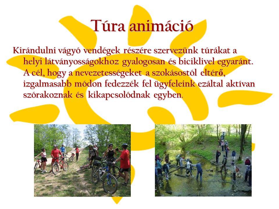 Túra animáció Kirándulni vágyó vendégek részére szervezünk túrákat a helyi látványosságokhoz gyalogosan és biciklivel egyaránt. A cél, hogy a nevezete