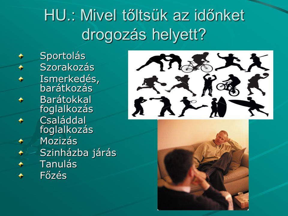 HU.: Mivel tőltsük az időnket drogozás helyett? SportolásSzorakozás Ismerkedés, barátkozás Barátokkal foglalkozás Családdal foglalkozás Mozizás Szinhá