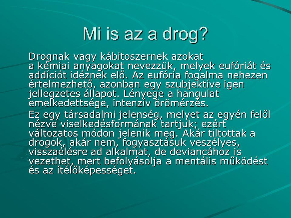 Mi is az a drog? Drognak vagy kábitoszernek azokat a kémiai anyagokat nevezzük, melyek eufóriát és addíciót idéznek elő. Az eufória fogalma nehezen ér