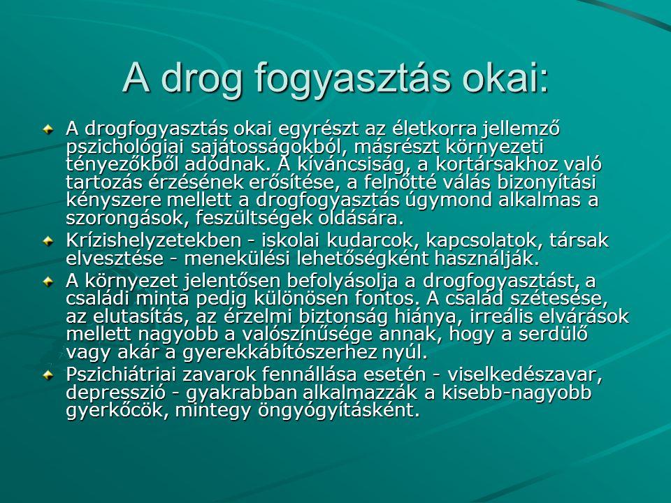 A drog fogyasztás okai: A drogfogyasztás okai egyrészt az életkorra jellemző pszichológiai sajátosságokból, másrészt környezeti tényezőkből adódnak. A