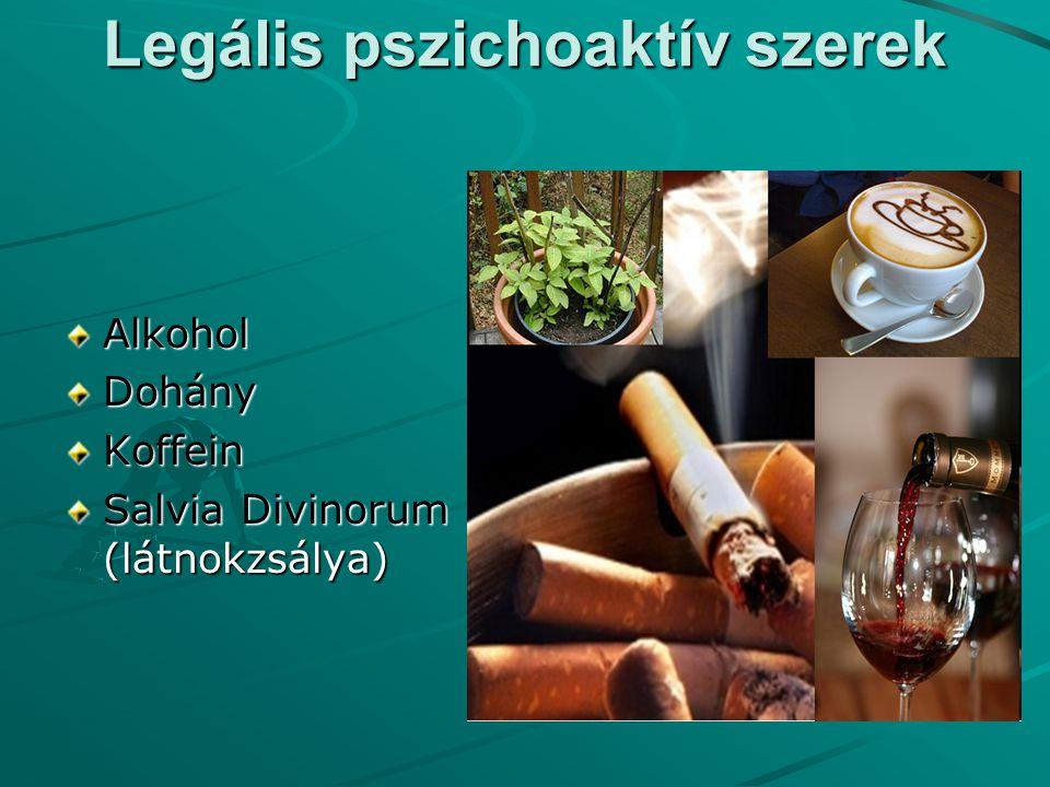 Legális pszichoaktív szerek Alkohol Dohány Koffein Salvia Divinorum (látnokzsálya)