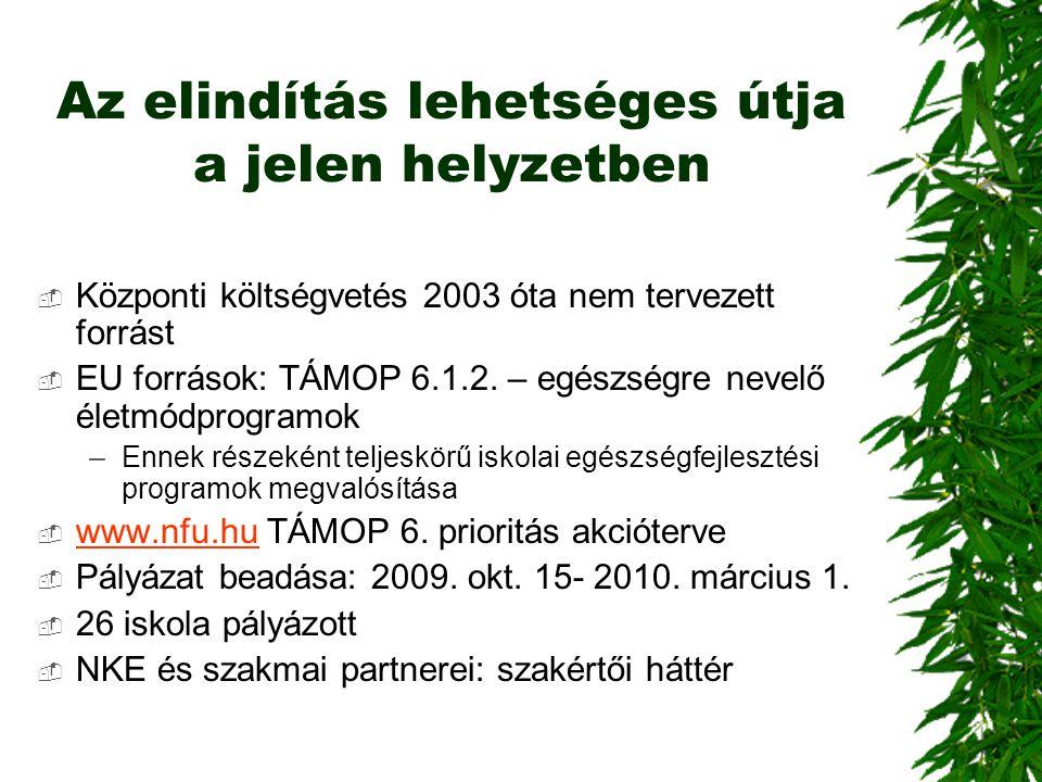 Az elindítás lehetséges útja a jelen helyzetben  Központi költségvetés 2003 óta nem tervezett forrást  EU források: TÁMOP 6.1.2. – egészségre nevelő